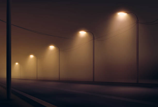 Vector illustration of road lit by lanterns in the fog the night. Street lighting in warm colors Vector illustration of empty road lit by lanterns in the fog the night. Street lighting in warm colors alley stock illustrations