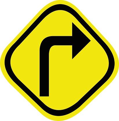 Vector illustration of road sign emoticon - elbow - right turn
