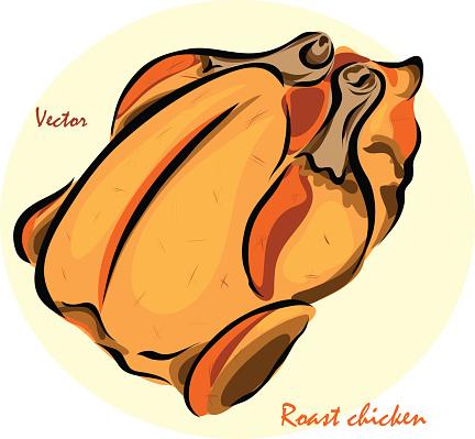 Vector illustration of roast chickenŒ
