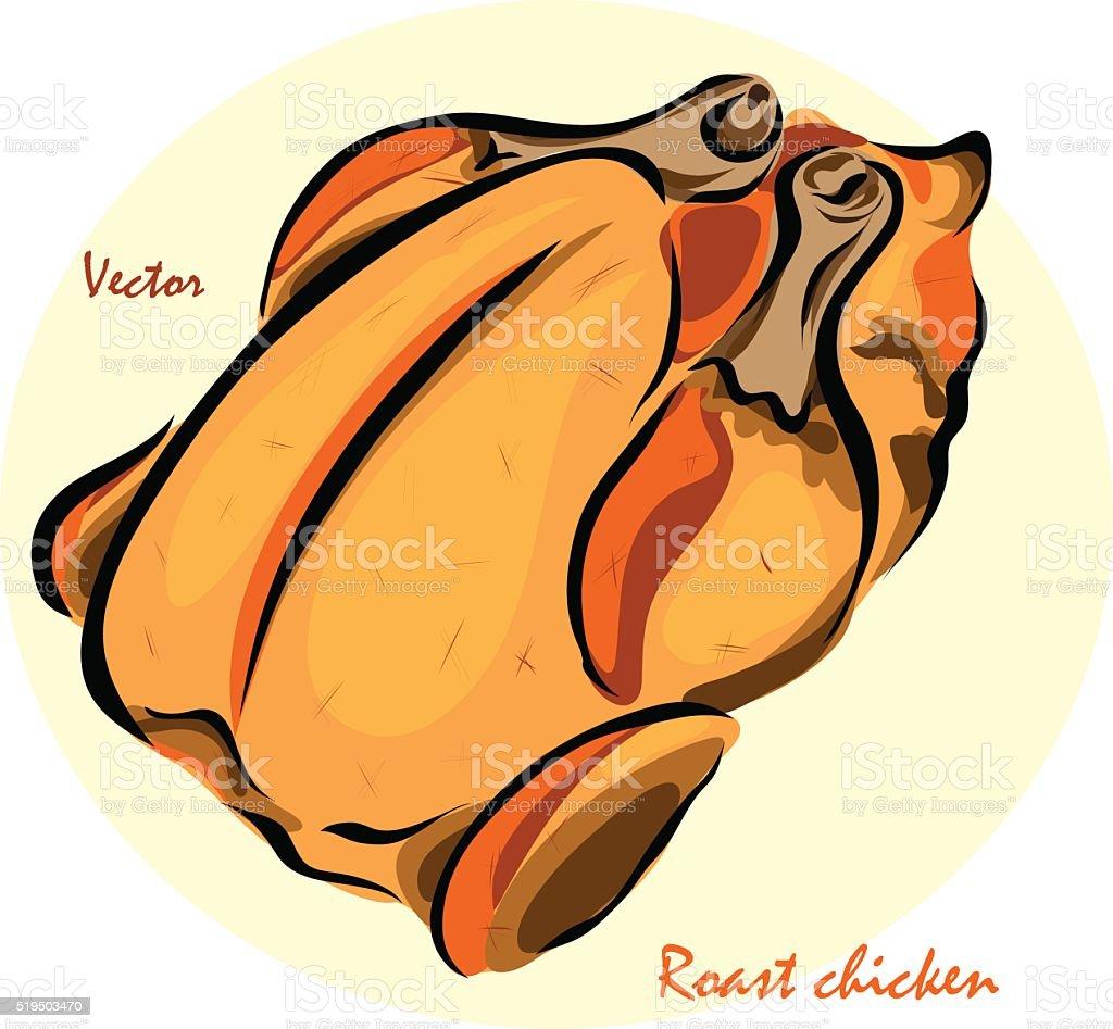 Vector illustration of roast chickenΠvector art illustration