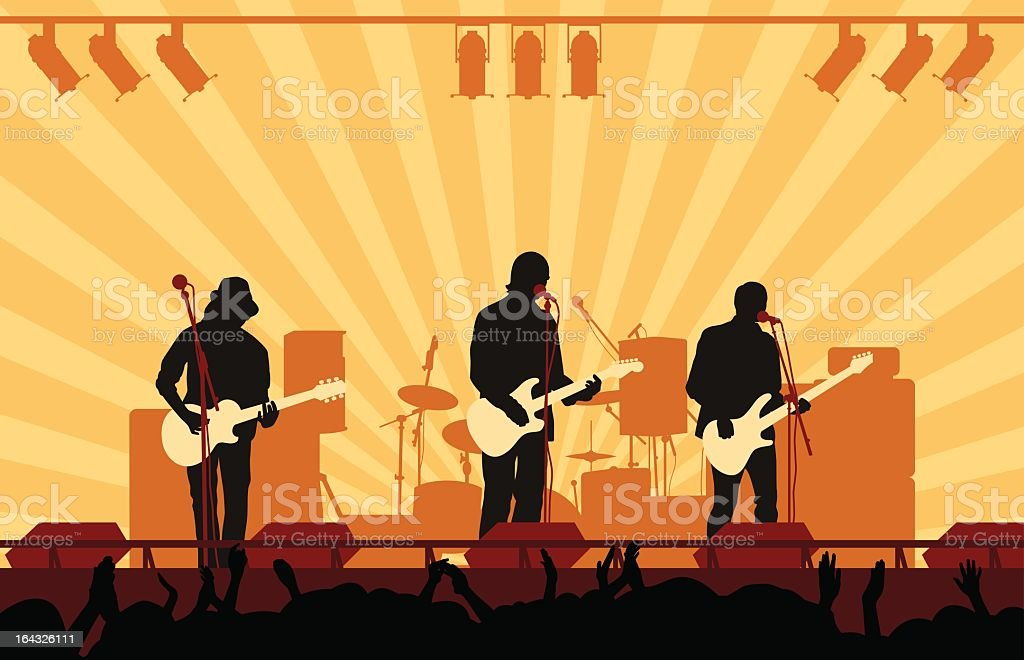 Vector illustration of rock band playing concert on stage royalty-free stock vector art