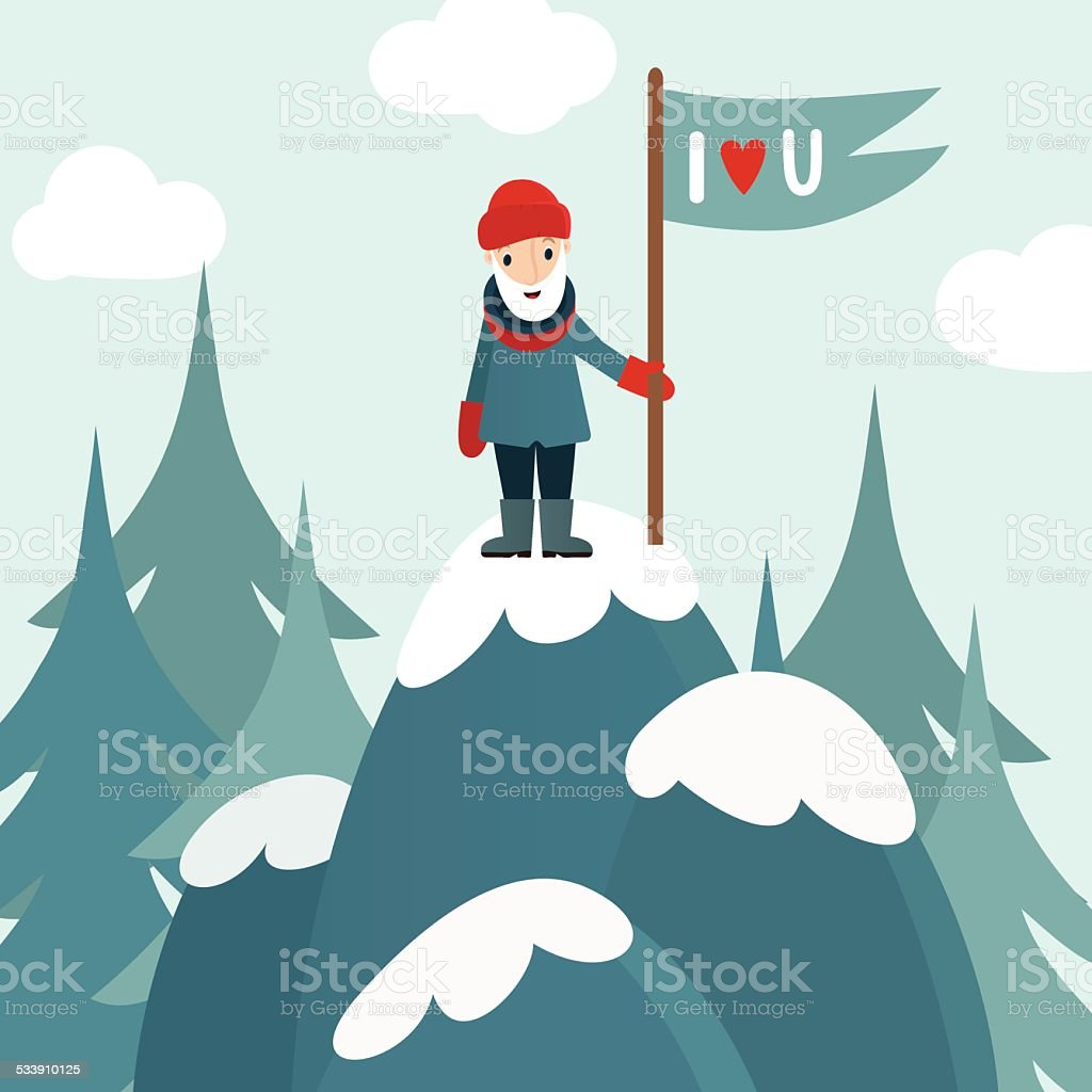 Vector illustration of rock-climber vector art illustration