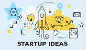 Vector illustration of rocket, light bulb, cloud and icons. Startup ideas concept on blue background with title. Thin line art flat style design for web, site, startup banner, business presentation