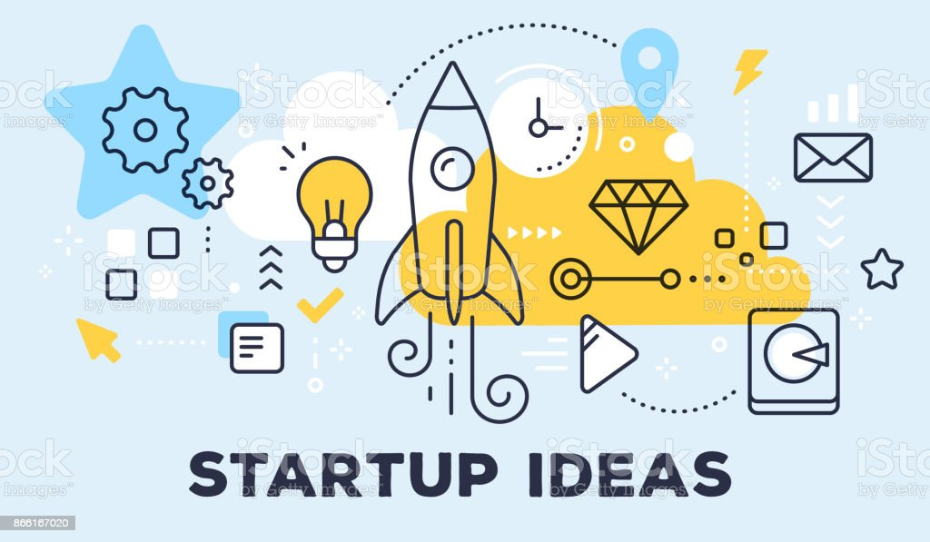 Vector illustration of rocket, light bulb, cloud and icons. Startup ideas concept on blue background with title. vector art illustration