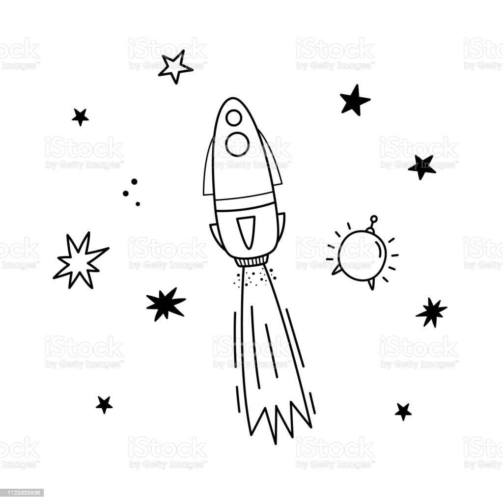 Vector illustration of rocket, satellite and stars. Doodle style....