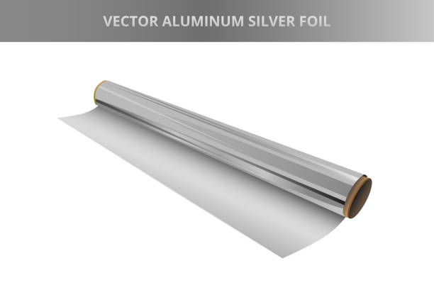 vector illustration of roll of silver aluminium foil. kitchen packaging element, hot stamping foil or other. icon is isolated on a white background. - aluminum foil roll stock illustrations, clip art, cartoons, & icons