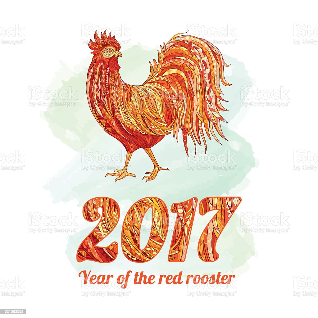 Vector Illustration Of Rooster Symbol 2017 On The Chinese Calendar