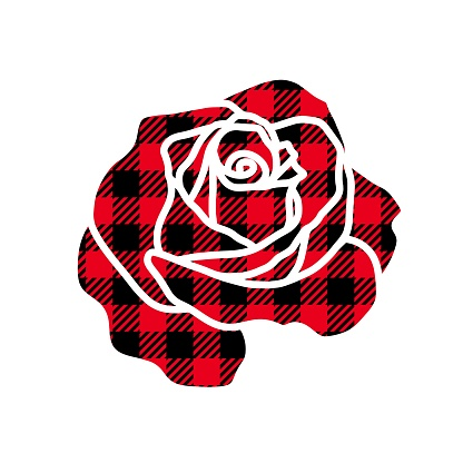 Vector illustration of Rose flower silhouette with buffalo plaid pattern isolated on white background. Hand drawn blooming rose with Lumberjack plaid ornament for cut, print, t shirt design, card.