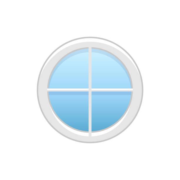 vektor-illustration der runde dachboden vinyl rad fenster. flache symbol des traditionellen aluminium kreisrundes fenster mit radialen stangen für mansarde & garret. isoliert auf weißem hintergrund. - dachboden stock-grafiken, -clipart, -cartoons und -symbole