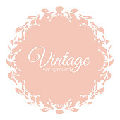 Vector illustration of round vintage frame with place for text, vintage pastel background