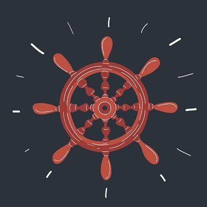 Vector illustration of Rudder icon on dark background.