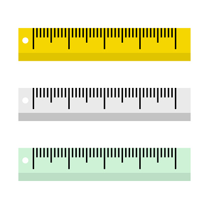 Vector illustration of rulers on white background in flat style.