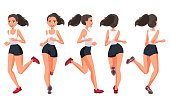Vector illustration of running young woman in casual clothes .Cartoon realistic people illustration.Flat young woman.Front, side and back views. Isometric views. Sportive woman. Sport, training, run.