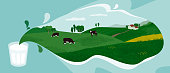 Glass of fresh milk from farm. Vector illustration of dairy splash with rural landscape, green hills, valley, cows on meadow and farmers cottage. Design with nature for milk packaging, banner, flyer.