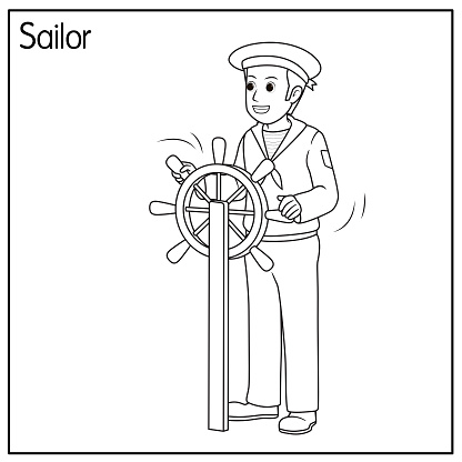 Vector illustration of sailor isolated on white background. Jobs and occupations concept. Cartoon characters. Education and school kids coloring page, printable, activity, worksheet, flashcard.