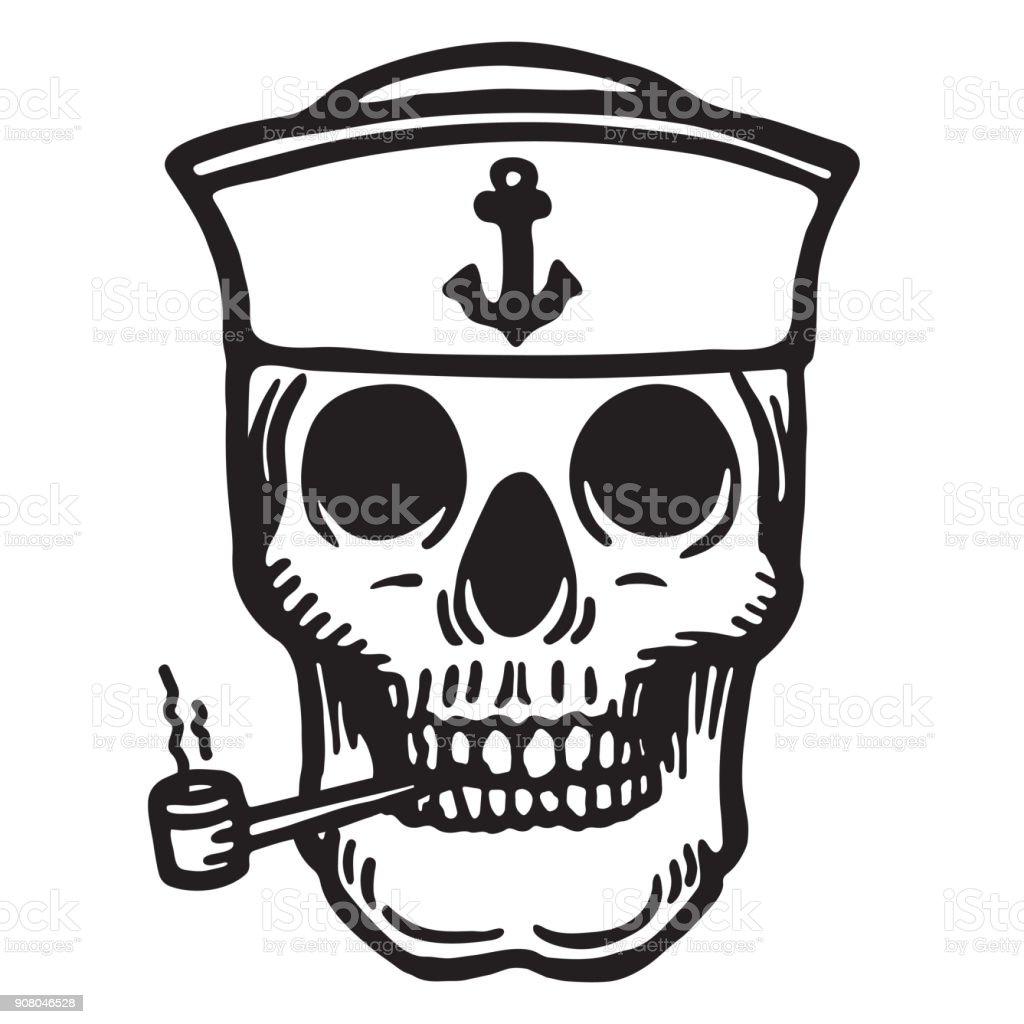 Denizci Kafatası Boru Ile Vektör çizim Stok Vektör Sanatı Amblem