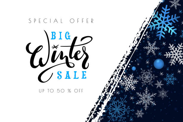 Vector illustration of sale promotion banner template with hand lettering label - winter - with snowflakes Vector illustration of sale promotion banner template with hand lettering label - winter - with snowflakes. january stock illustrations