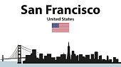Vector illustration of San Francisco cityscape silhouette