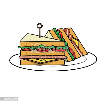 istock Vector illustration of sandwich isolated on white background for kids coloring activity worksheet/workbook. 1205808098