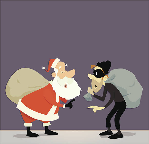 a vector illustration of santa claus and a robber with a bag - old man mask stock illustrations