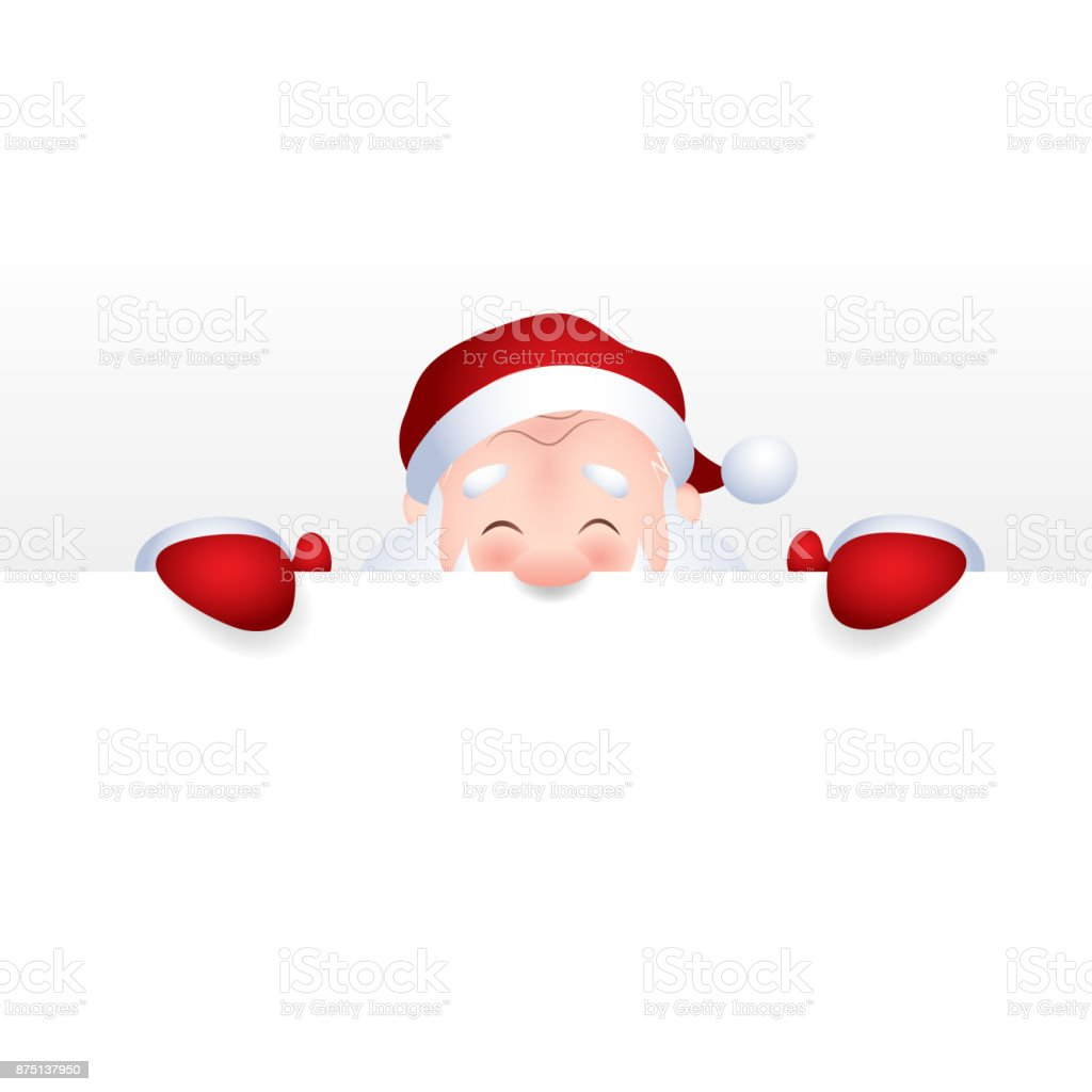Vector illustration of Santa Claus cartoon character emotion cheerful for a blank sign, web header page. vector art illustration