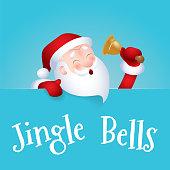 Santa Claus cartoon character emotion cheerful to sing Jingle Bells. Vector illustration