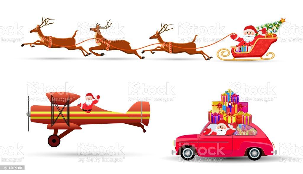 vector illustration of Santa Claus flying with deer vector illustration of santa claus flying with deer – cliparts vectoriels et plus d'images de avion libre de droits