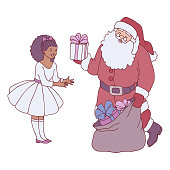 Vector illustration of Santa Claus giving gift box to little girl in festive dress in sketch style - happy child receiving long-awaited Christmas and New Year present isolated on white background.