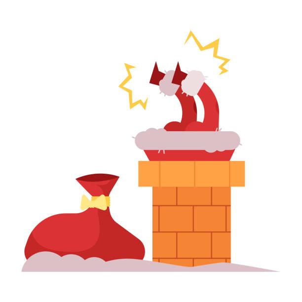 vektor-illustration des weihnachtsmannes im schornstein stecken versucht, nach unten kommen, um weihnachtsgeschenke zu geben. - kaminverkleidungen stock-grafiken, -clipart, -cartoons und -symbole
