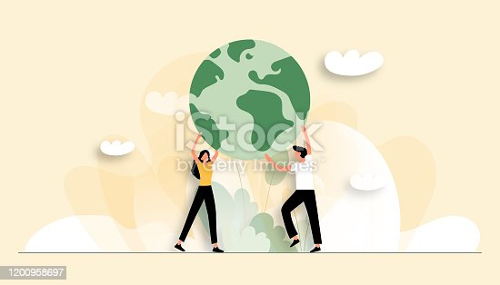 Vector Illustration of Save the Planet Concept. Flat Modern Design for Web Page, Banner, Presentation etc.