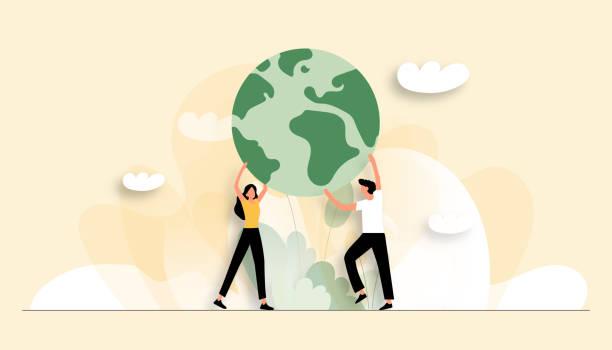惑星コンセプトを保存するベクトルイラスト。ウェブページ、バナー、プレゼンテーションなどのフラットモダンデザイン - 地球点のイラスト素材/クリップアート素材/マンガ素材/アイコン素材
