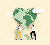 Vector Illustration of Save the Planet Concept. Flat Modern Design for Web Page, Banner, Presentation etc.
