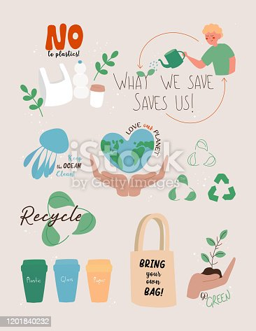 istock Vector Illustration of Save the Planet Concept. Flat Modern Design for Web Page, Banner, Presentation etc. 1201840232