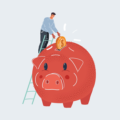 Vector illustration of saving money young tiny man putting coin into big pig money box close up on dark background on white background.