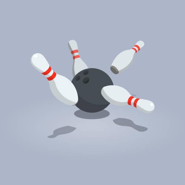 Vector illustration of scattered skittle and bowling ball vector art illustration