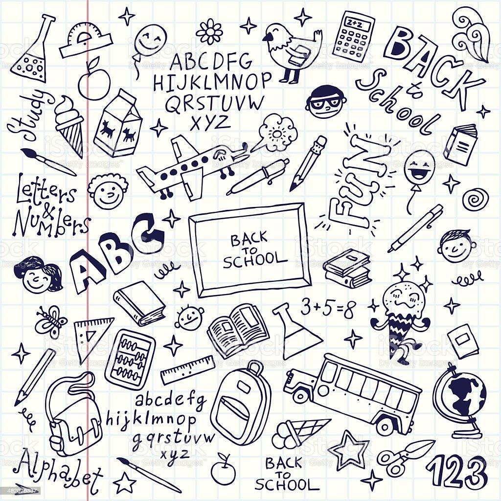 Vector Illustration Of School Doodles In Notebook Stock ...