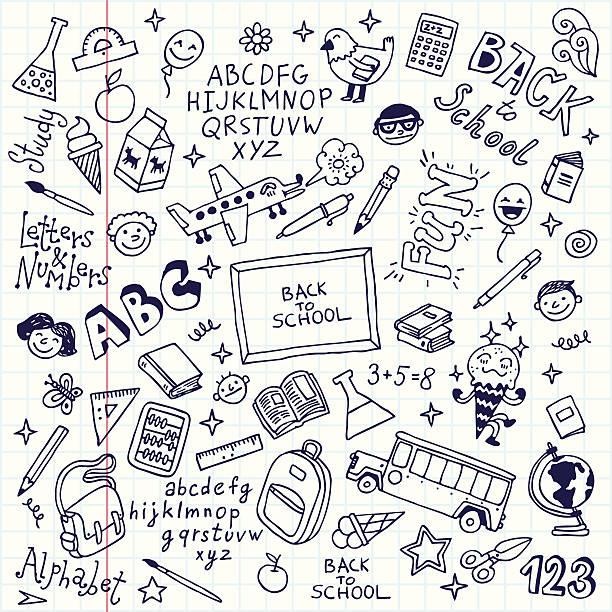vector illustration of school でスケッチノート - 数学の授業点のイラスト素材/クリップアート素材/マンガ素材/アイコン素材