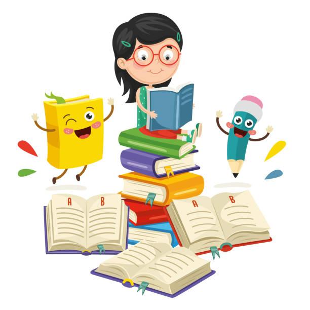 Vector Illustration Of School Elements Vector Illustration Of School Elements reading stock illustrations