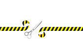 Scissors are cutting safety tape they are isolated on a white background. Vector illustration with a copy space, EPS 10.