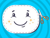 Vector illustration of scissors cutting sticker with smile
