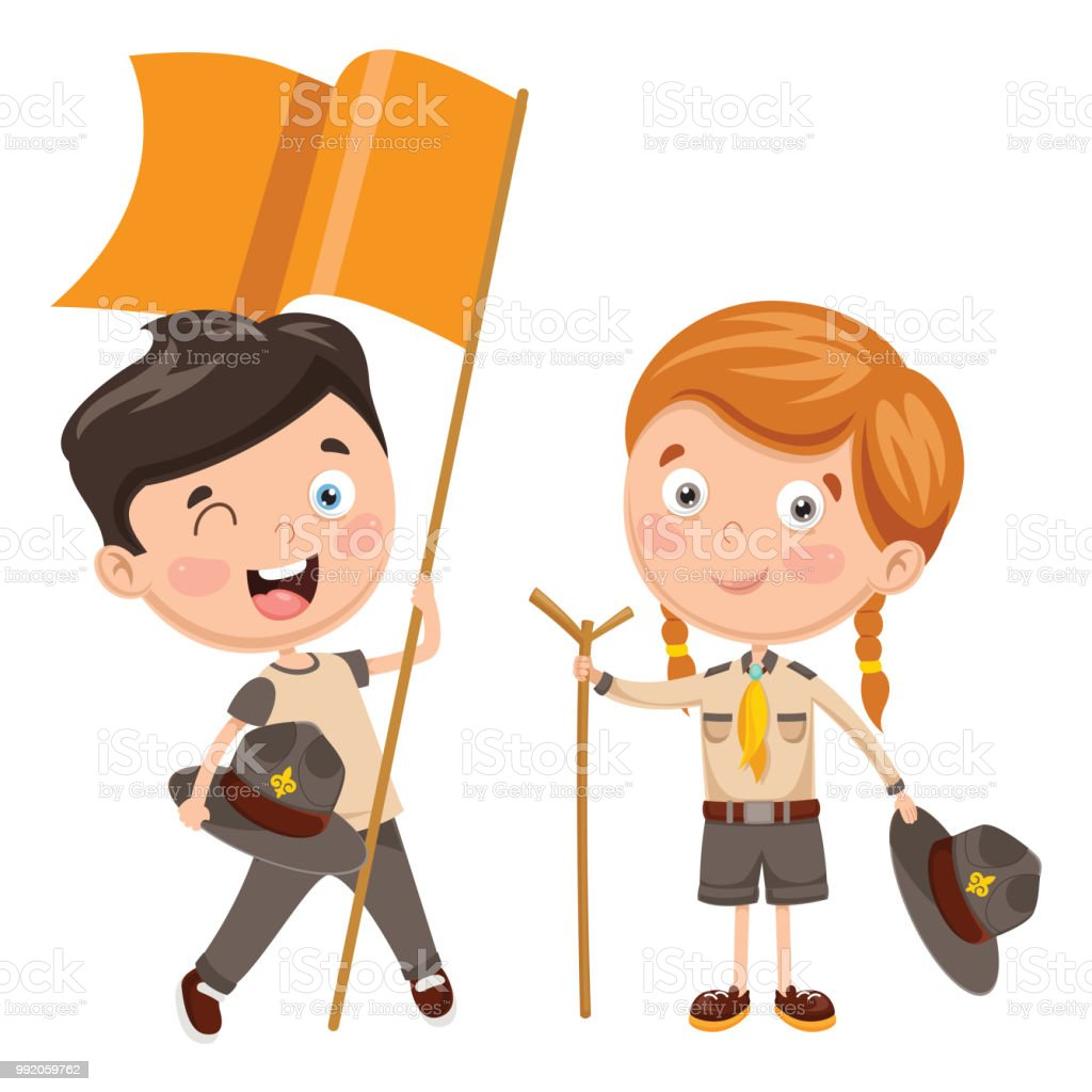 Vector Illustration Of Scout Children vector art illustration