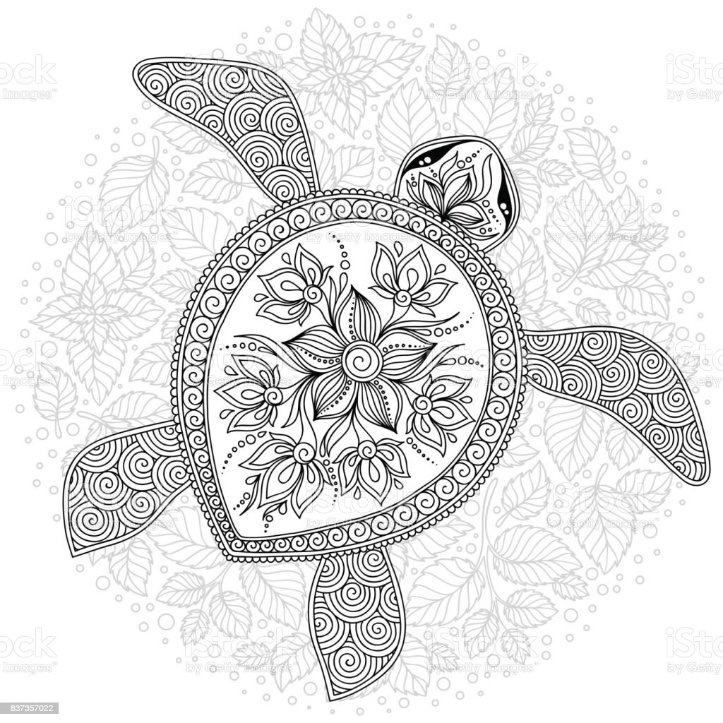 Kaplumbaga Boyama Kitabi Sayfalari Icin Vektor Cizim Stok Vektor