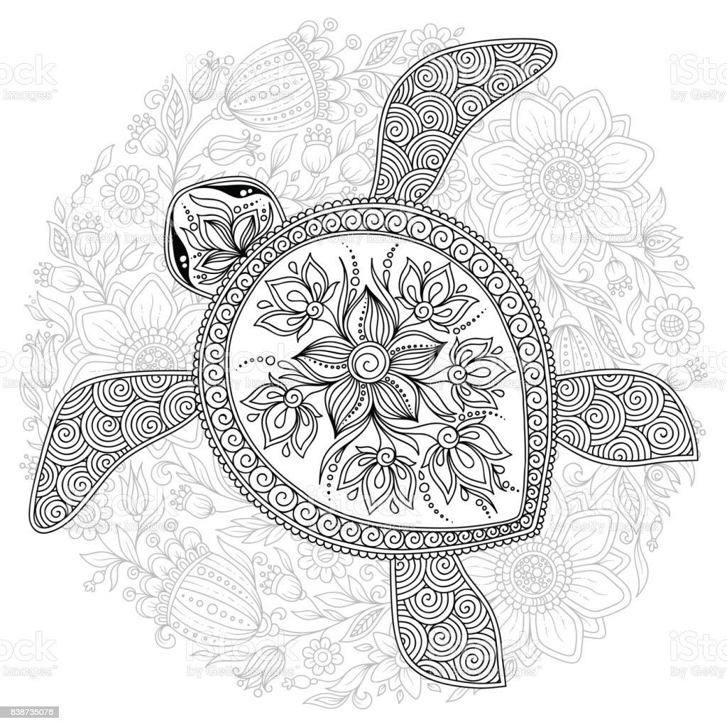Vektorillustration av havssköldpadda för att färga boksidor vektorkonstillustration