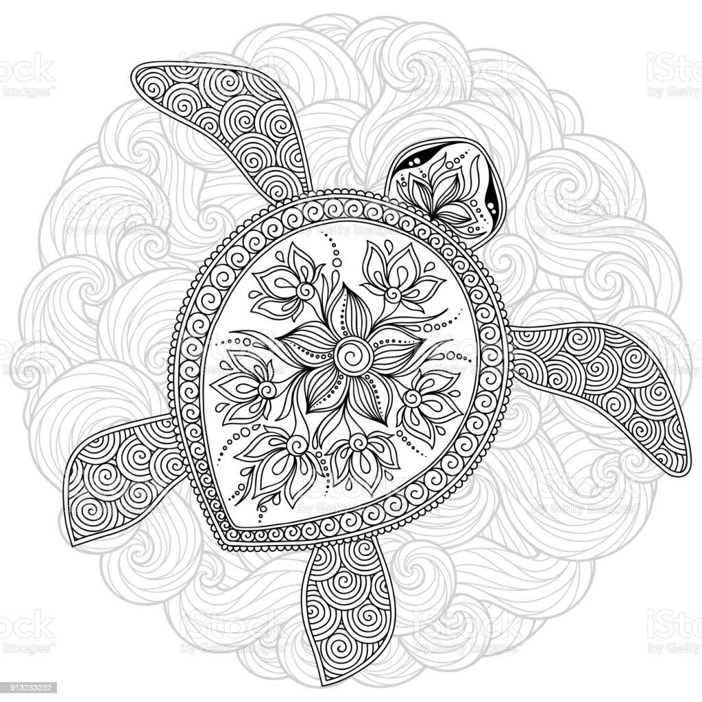 Kleurplaten Zee Schildpad.Vectorillustratie Zee Schildpad Voor Boek Kleurplaten