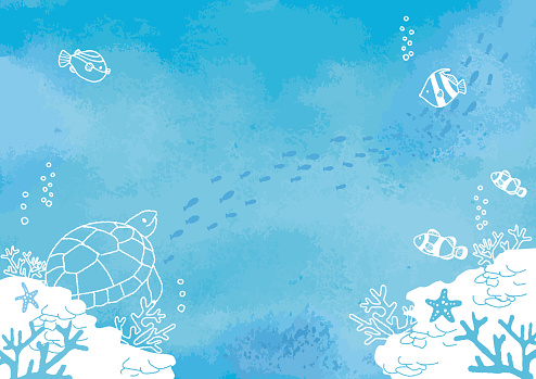 Vector illustration of Seabed fish background