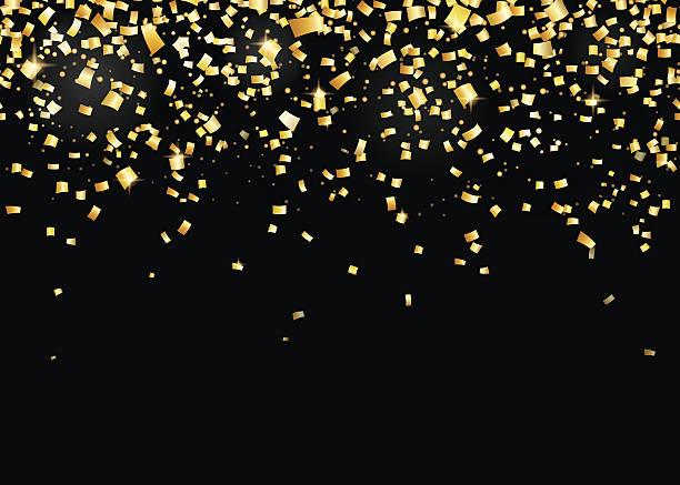 bildbanksillustrationer, clip art samt tecknat material och ikoner med vector illustration of seamless border background with gold carnival confetti - blue yellow band