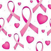 Vector illustration of seamless pattern with breast cancer ribbons and