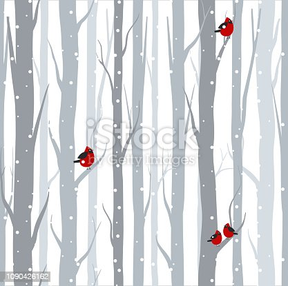 Vector illustration of seamless pattern with grey trees birches and red birds in winter time with snow in flat cartoon style