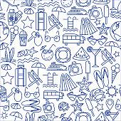 Summer Vocation pattern. Vector illustration of seamless pattern with summer symbols.