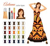 Vector illustration of seasonal color palette for autumn type. Young woman in maxi dress with ethnic pattern. Set of cosmetics on white background.